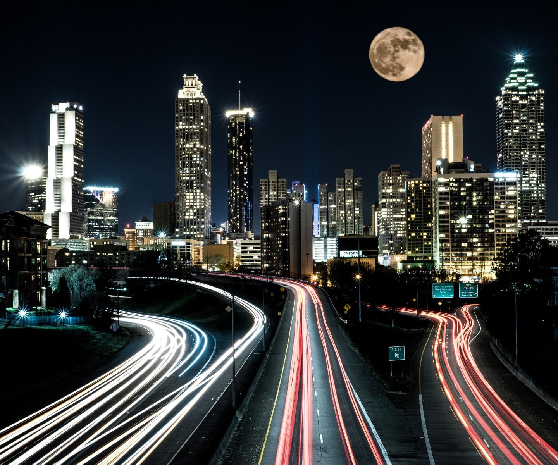 Atlanta Skyline with Full Moon